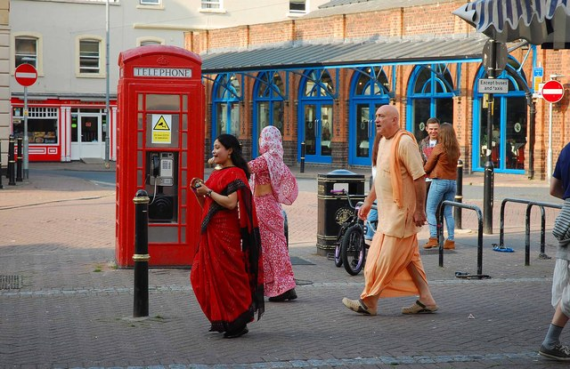 Hare Krishna group (1), Angel Row, Worcester
