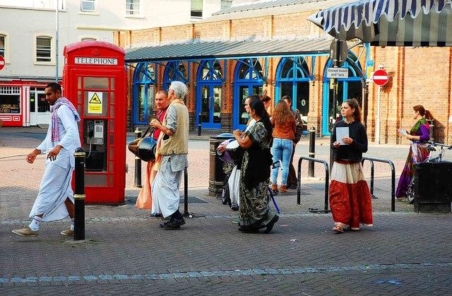 Hare Krishna group (2), Angel Row, Worcester