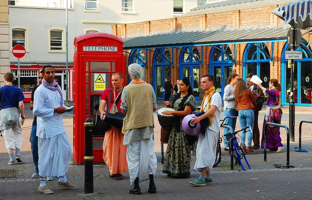 Hare Krishna group (3), Angel Row, Worcester