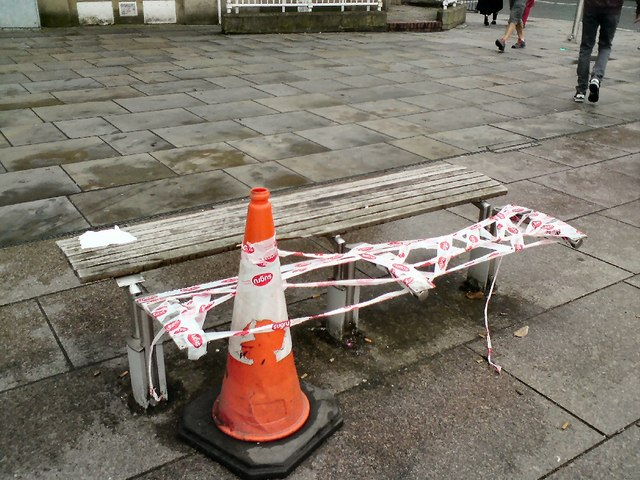 Cone and broken bench