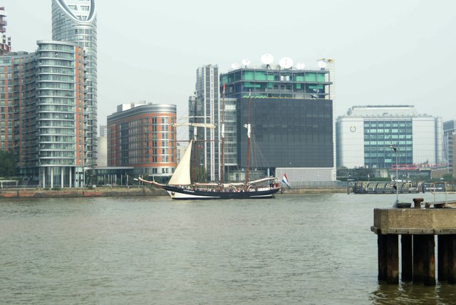 View of Oosterschelde passing New Providence Wharf