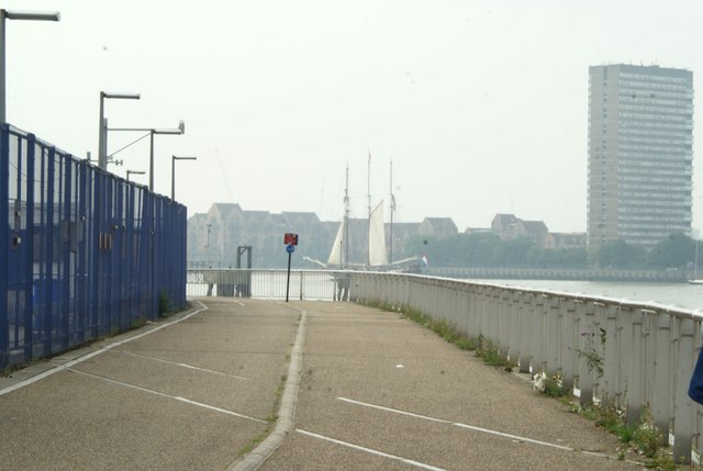 View of Oosterschelde rounding the corner to moor up at Greenwich Peninsula