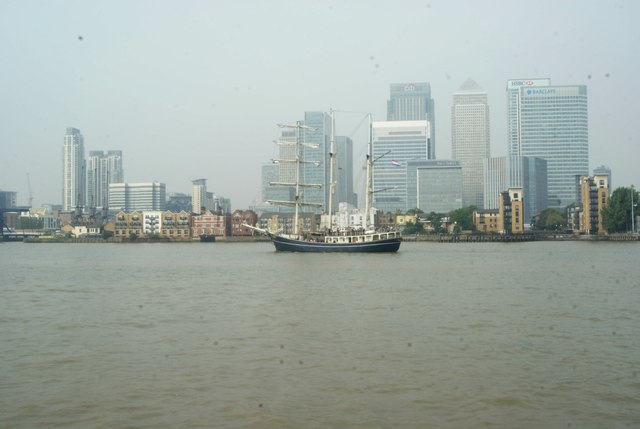 View of Thalassa passing Canary Wharf