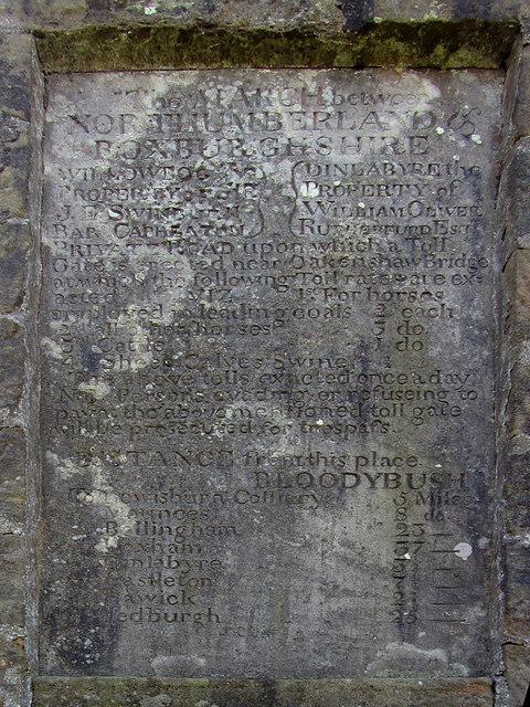 Inscription, Old Toll Pillar, Bloody Bush