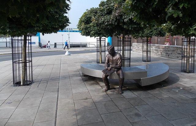 Seated sculpture in Cheapside, Bridgend