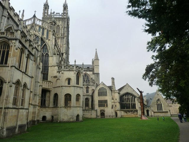 Gloucester Cathedral with sculpture exhibition