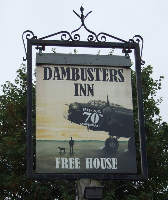 Sign for the Dambusters Inn, Scampton