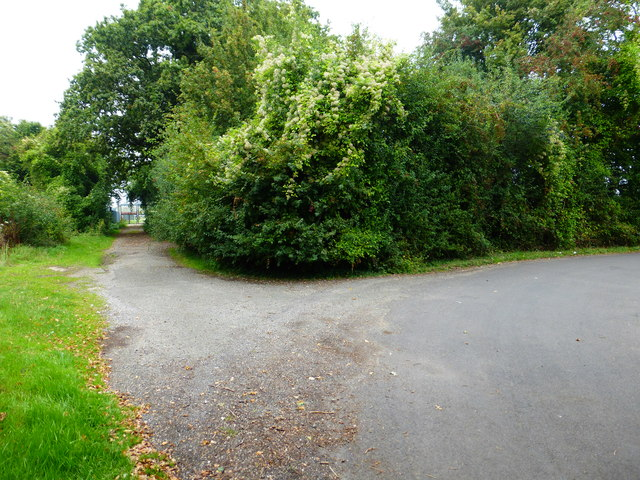 Junction of Wood Hill Lane with access road to airfield