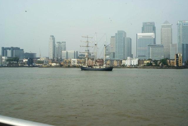View of Thalassa passing Canary Wharf #2