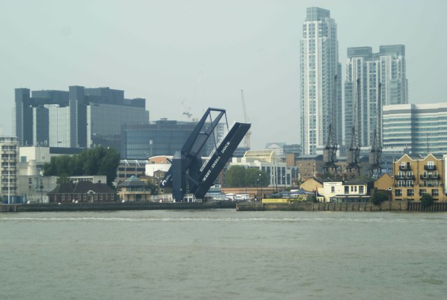 View of the opening West India Dock bridge from Greenwich Peninsula