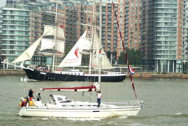 View of the yacht and Mercedes passing at Greenwich Peninsula