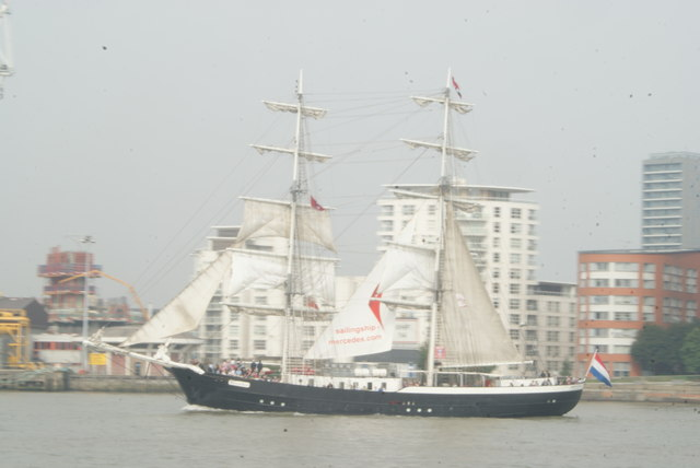 View of Mercedes passing New Providence Wharf #2