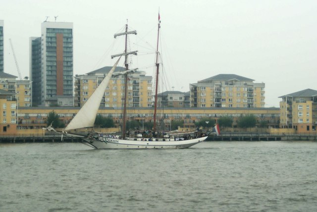 View of J.R.Tolkien passing New Providence Wharf