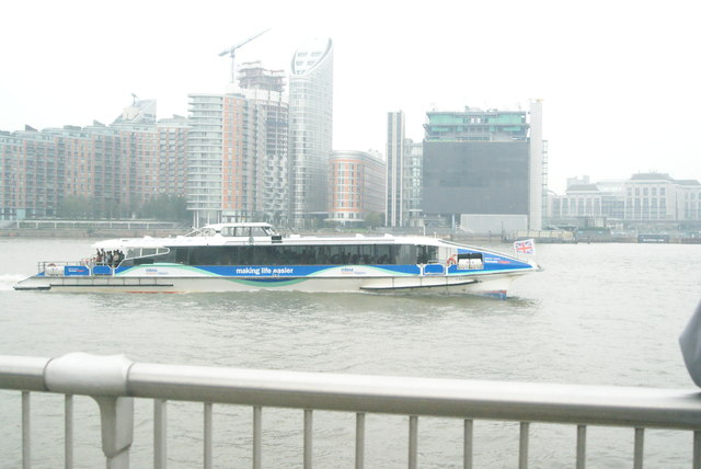 View of the Thames Clipper from Greenwich Peninsula