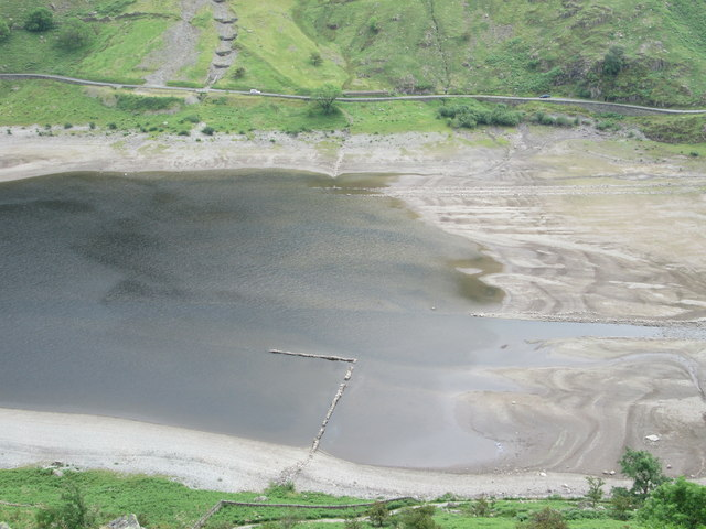 Zoom shot of the low water level, Haweswater