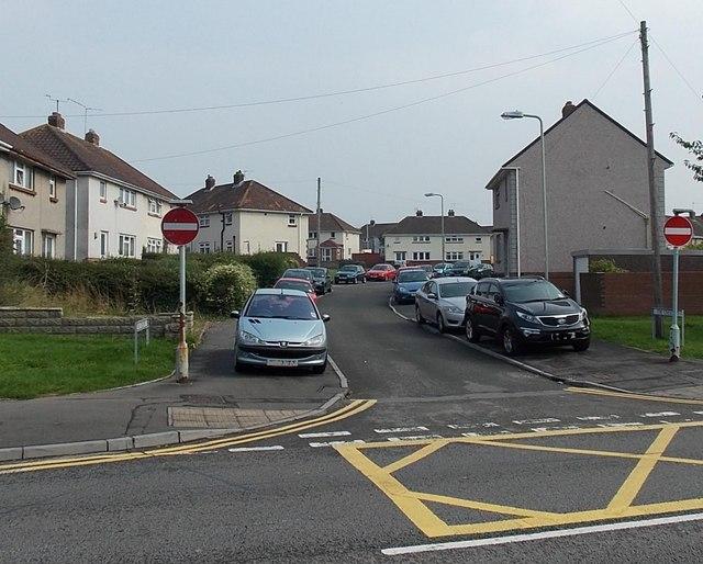 Pavement parking along The Crescent, Bridgend