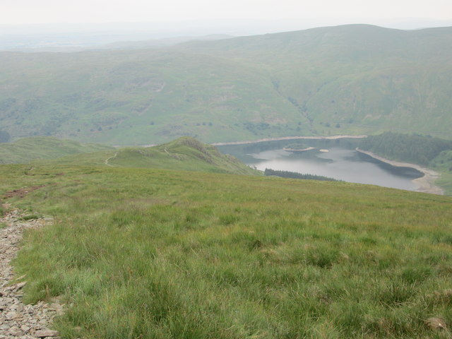 Haweswater now seen way below from the path up Kidsty Pike