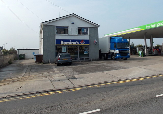 Domino's Pizza shop and lorry in Bridgend