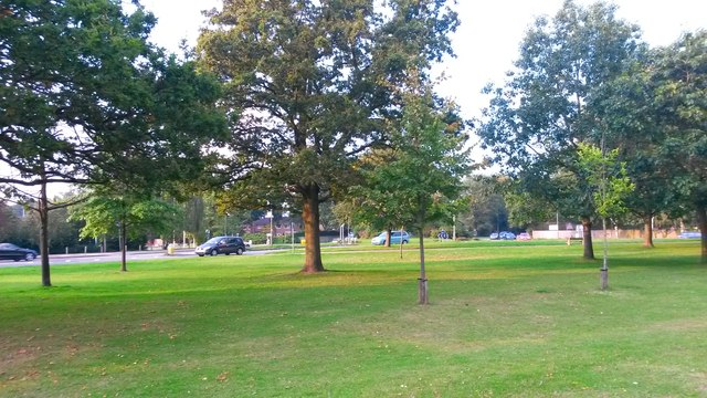 View across the green in front of Frimley Park Hospital