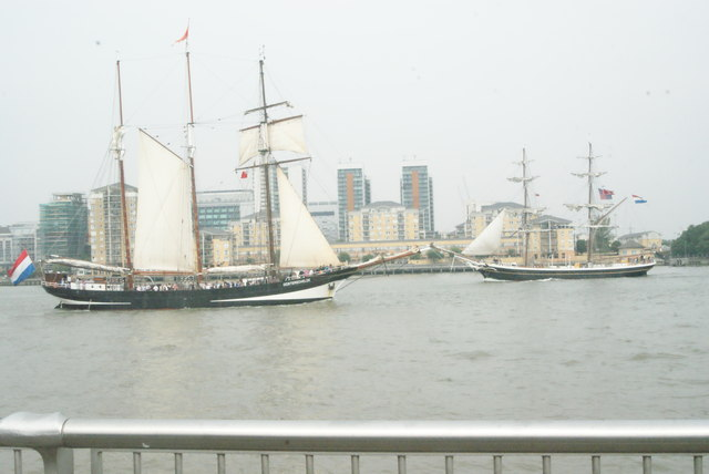 View of Oosterschelde and Golden Leeuw passing at Greenwich Peninsula