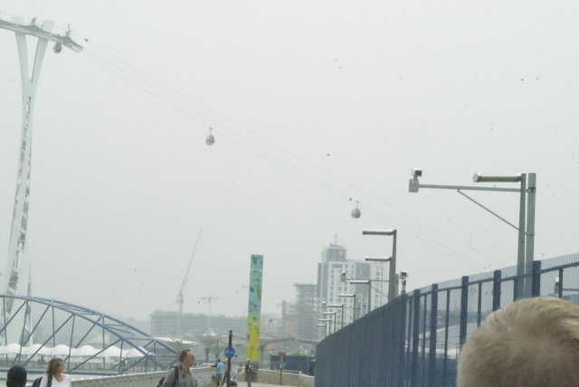 View of the Emirates Air Line descending toward the Greenwich Peninsula stop