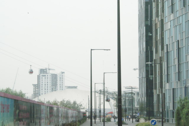 View of the Emirates Air Line Greenwich Peninsula terminal from Penrose Way