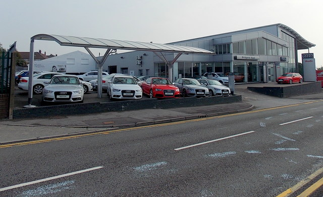 Audi cars on display, Tremains Road, Bridgend