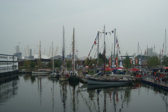 View of Tall Ships Festival vessels docked in Wood Wharf