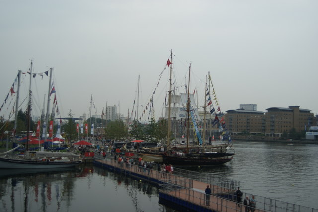View of Tall Ships Festival vessels docked in Wood Wharf #2