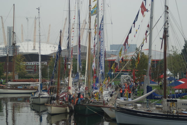 View of Tall Ships Festival vessels docked in Wood Wharf #3