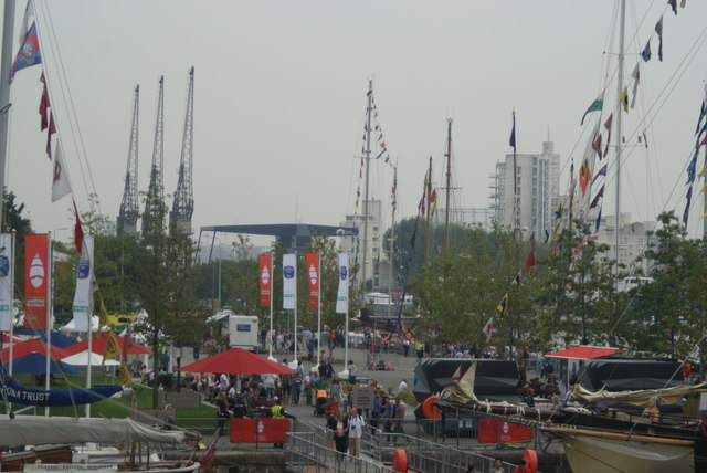 View of the Tall Ships Festival site at Wood Wharf