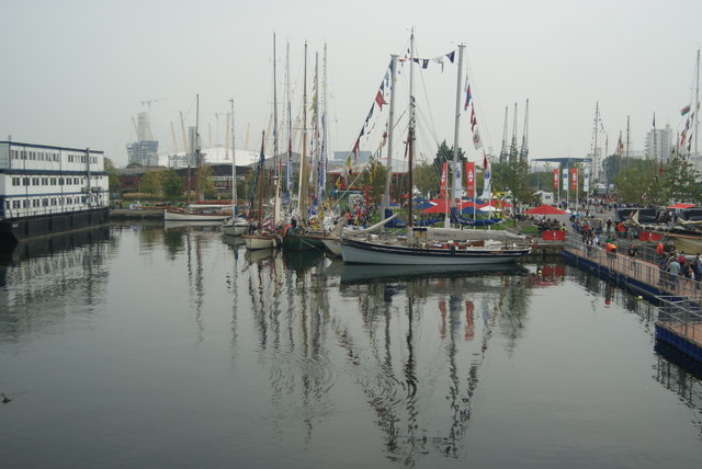 View of Tall Ships Festival vessels with reflections