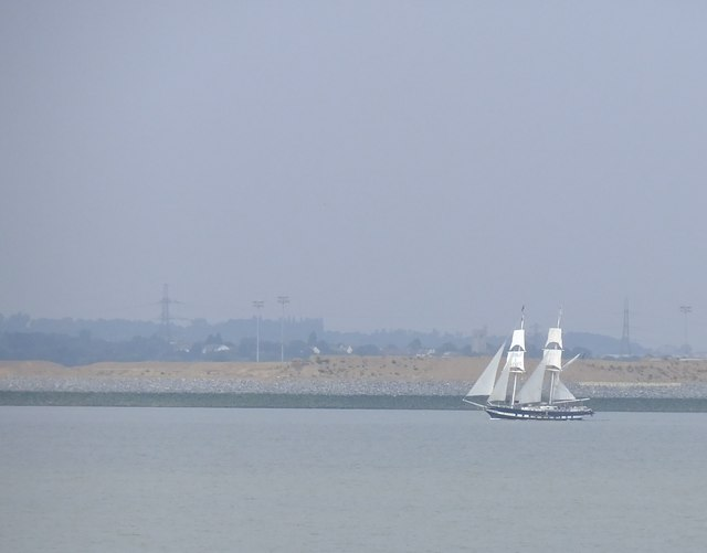 Square-rigger in the Thames estuary: TS 'Royalist' off Corringham