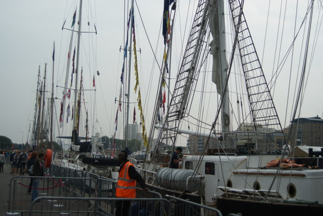 View of a row of Tall Ships from Wood Wharf