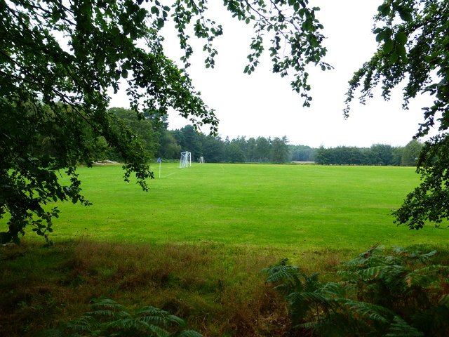Looking across playing field with goal posts