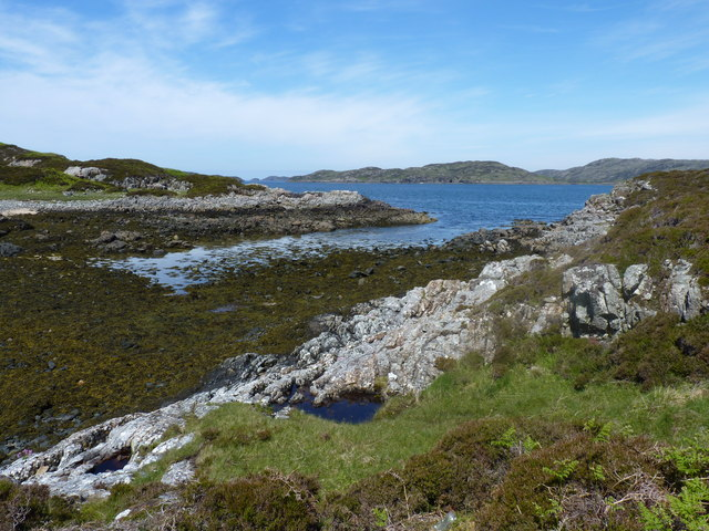 The channel between Eilean Rairidh and the mainland at low tide