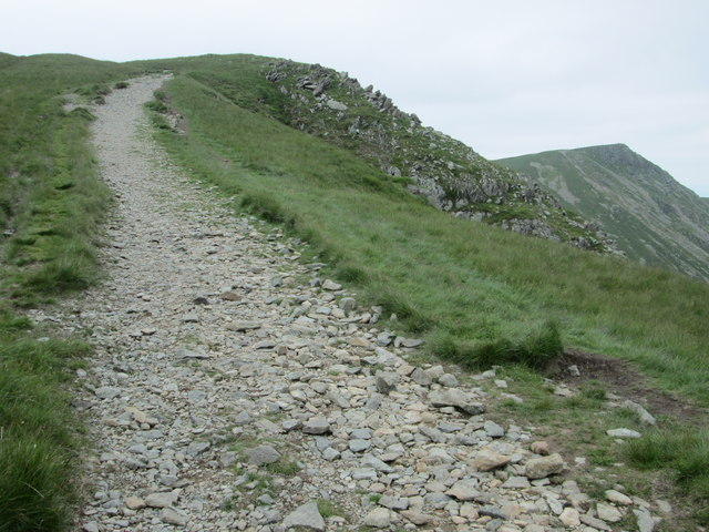 Stony path with Kidsty Pike on the right