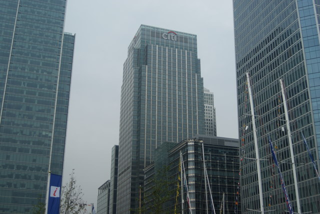 View of the Citigroup building from Wood Wharf