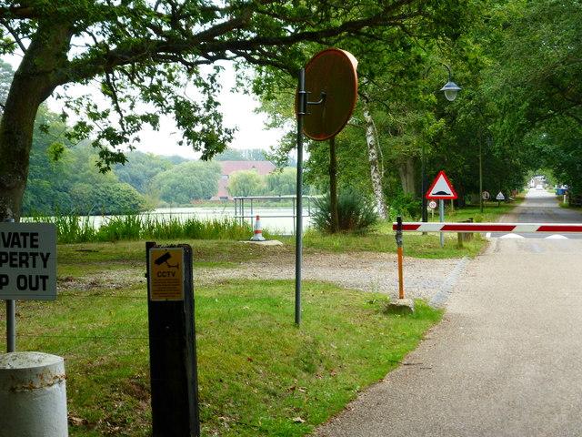 Drive by lake to Bramshill House
