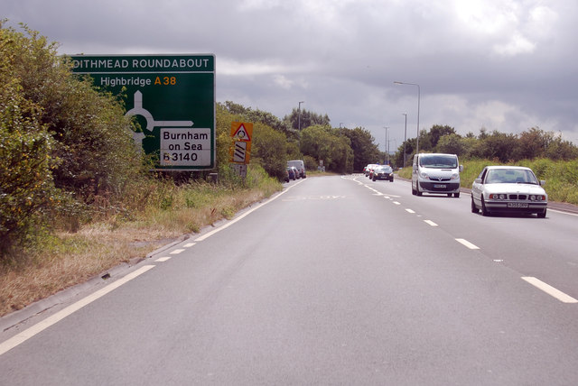 A38 Approaching Edithmead Roundabout