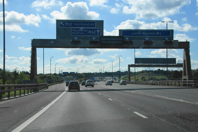 The junction of the M1 and the M62