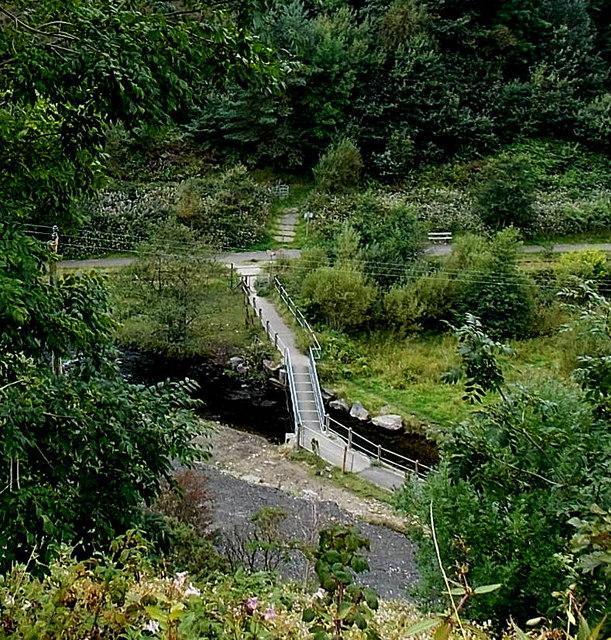 Afon Garw footbridge below Pant-y-Gog