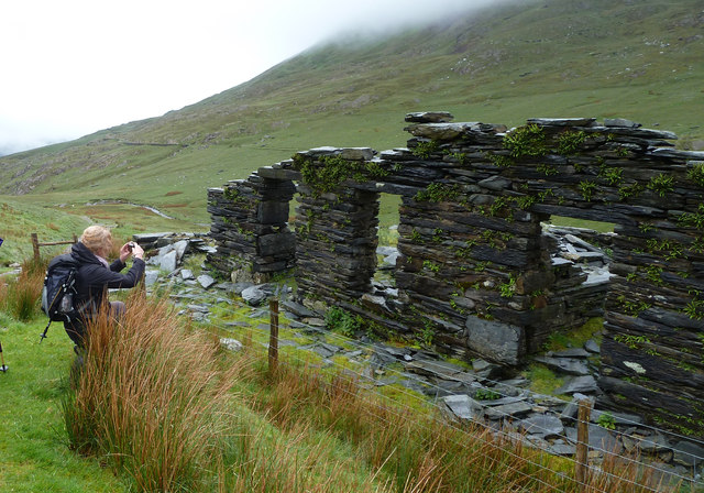 Photographing the  ruins, Cwm Llan