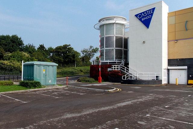 Electricity substation outside Castle Bingo, Bridgend