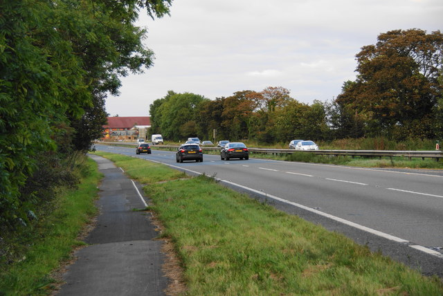 The A64 approaching the westbound services at Bilbrough