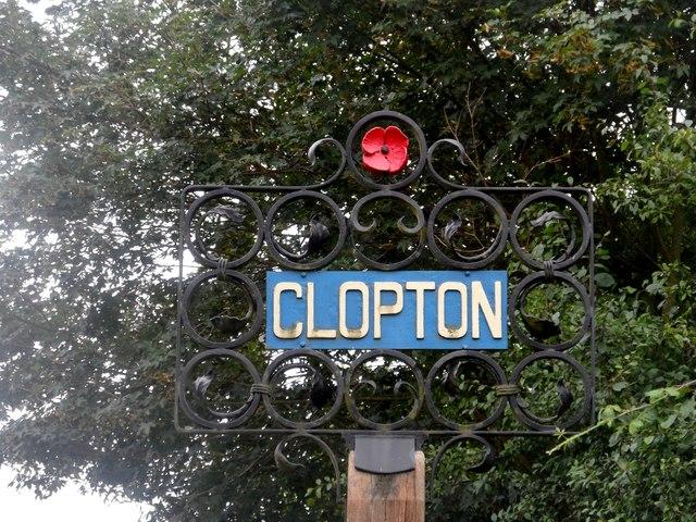 Clopton, village sign
