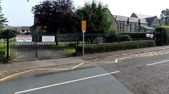 Penybont Primary School entrance gates - for a few, Bridgend