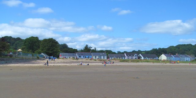 Beach and village houses at Llansteffan