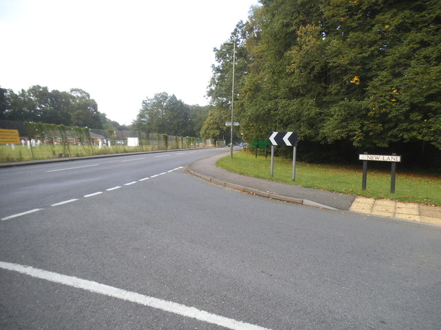 New Lane at the junction of Westfield Road