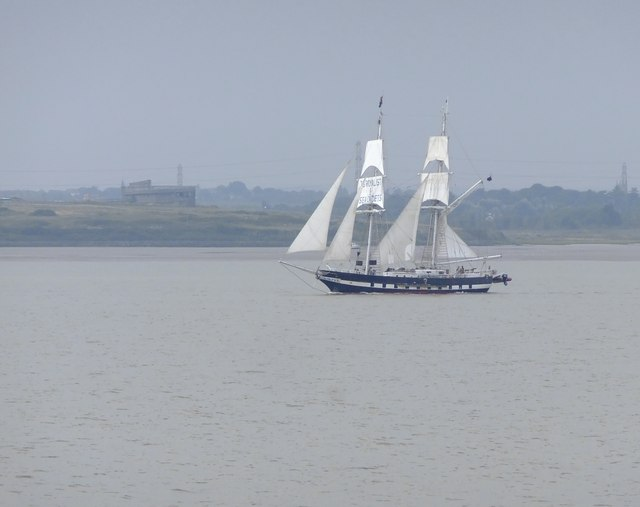 Square-rigger in the Thames estuary: TS 'Royalist'